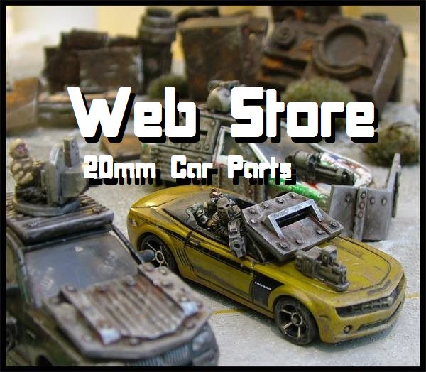 20mm resin model Car Parts from Ramshackle Games, suitable for gaslands and Darkfuture
